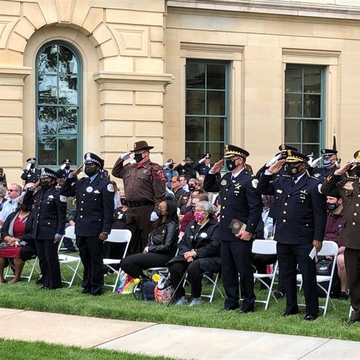 After being postponed last year due to the COVID-19 pandemic, law enforcement officers gathered in Springfield Thursday to honor police killed in the line of duty in 2019 and 2020. (Capitol News Illinois photo by Tim Kirsininkas)