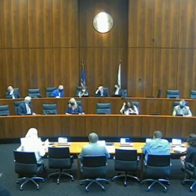 The Joint Committee on Administrative Rules questions officials from the Illinois State Board of Education about its mask mandate policies during a meeting Tuesday in Chicago. (Credit: Blueroomstream.com)