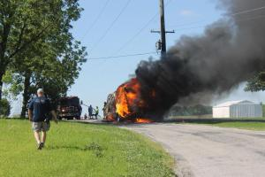 RV fire on Five Forks Road